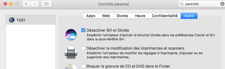 Restriction parentale sur SIRI avec le Mac