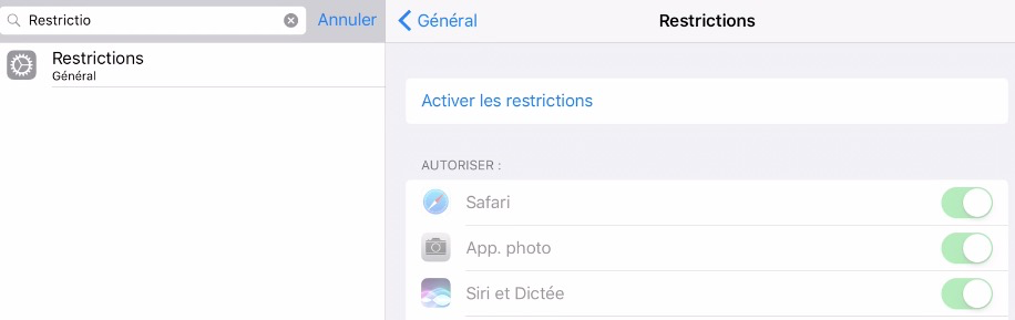 Restrictions iOS