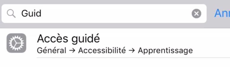 L'accès guidé pour iPad